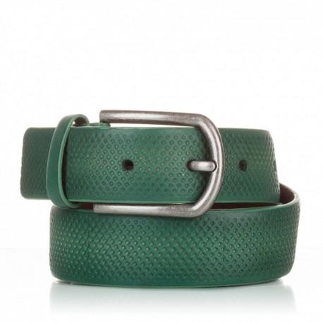 1002-35-KG-VE Cinturón grabado de piel verde