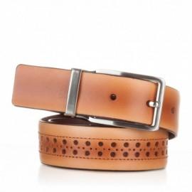 Cinturón con picados de piel camel
