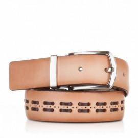 Cinturón con pasados de piel camel
