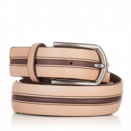 Cinturón con pasado central de piel natural-marrón