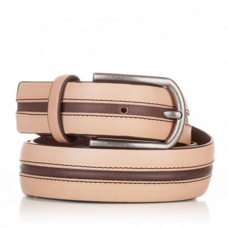 1005-35-KG-NA-MA Cinturón con pasado central de piel natural-marrón