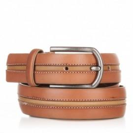 Cinturón con pasado central de piel cuero-mostaza