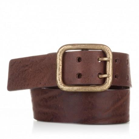 1011-40-KG-MA Cinturón hebilla doble piel envejecida marrón