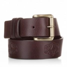 Cinturón grabado de piel al corte marrón