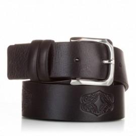 Cinturón grabado de piel al corte negro
