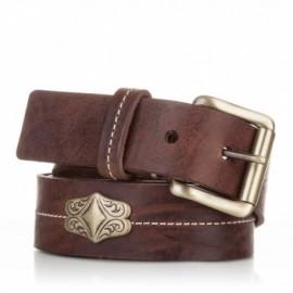 Cinturón con adorno piel al corte marrón