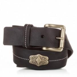 Cinturón con adorno piel al corte negro