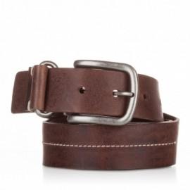 Cinturón de piel al corte cosido marrón