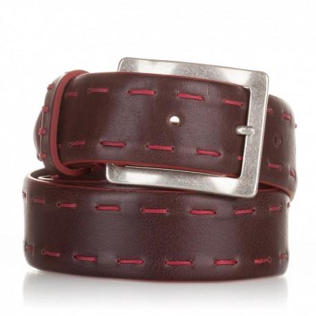 1017-40-KG-MA Cinturón ensamblado con cosidos piel marrón