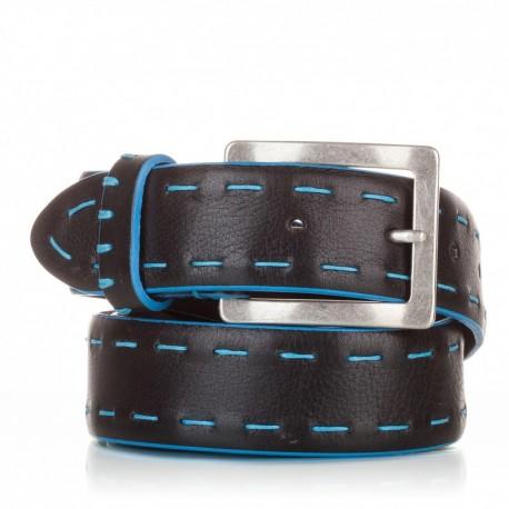 Cinturón ensamblado con cosidos piel negro