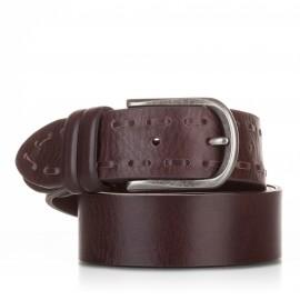Cinturón ensamblado y pasado piel marrón