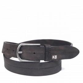1026-35-KG-CU Cinturón de piel, letras KB grabadas con hilo
