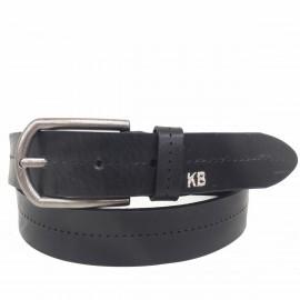 1026-35-KG-NG Cinturón de piel, letras KB grabadas con hilo