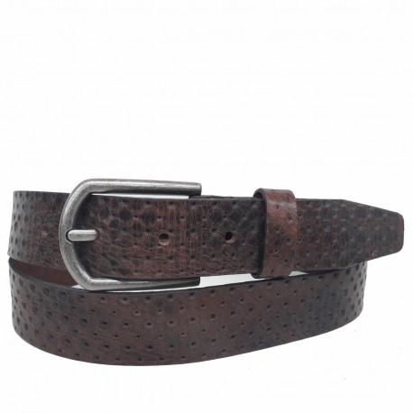 1027-35-KG-MA Cinturón grabado de piel Marrón
