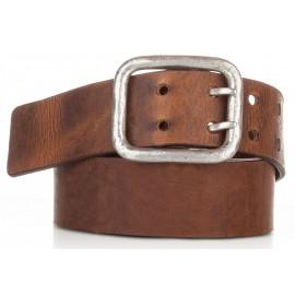 Cinturón hebilla doble piel envejecida cuero