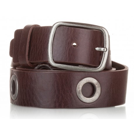 Cinturón al corte con ojetes piel marrón