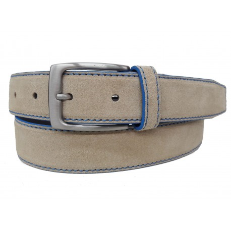 5461-35-KG-BE Cinturón de piel serraje Beige