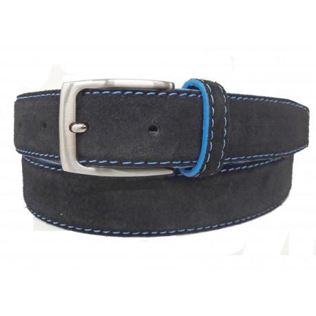 5146-35-KG-NG Cinturón de piel serraje Negro