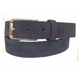 Cinturón grabado de piel marrón