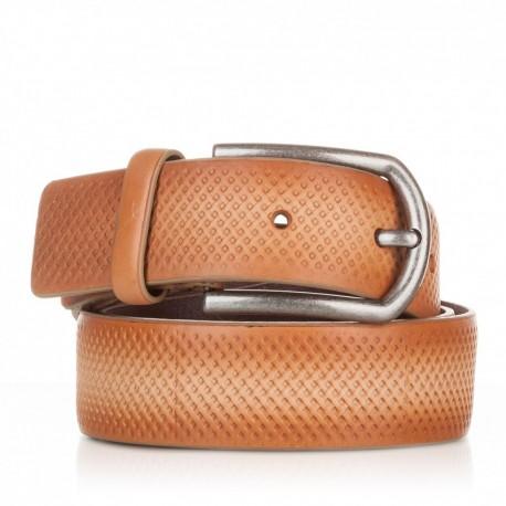 1002-35-KG-CA Cinturón grabado de piel camel
