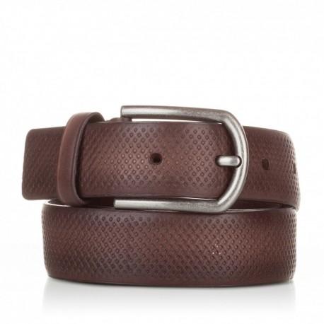 1002-35-KG-MA Cinturón grabado de piel marrón